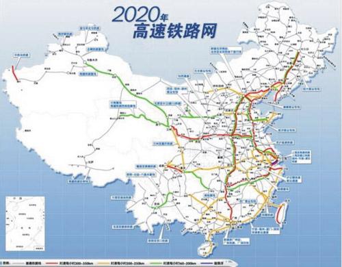 连接华北,华中和华南地区;三是北京~沈阳~哈尔滨(大连)高速铁路